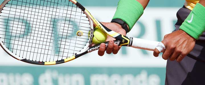 A zoomed in photograph of Rafael Nadal's serve grip.