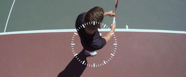 A photograph from above with a clock face overlay showing how to position your feet for the correct serve stance.