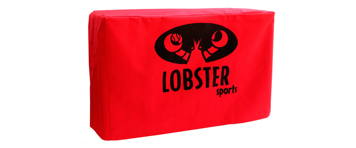 The bright red Lobster Elite 2 storage cover with black Lobster logo.