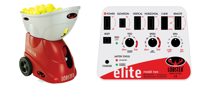 A picture of the Lobster Elite 2 Portable tennis ball machine and the electronic panel used for adjusting settings.