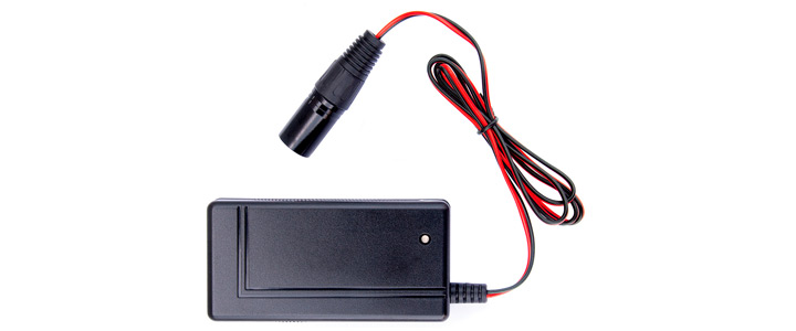 The Lobster Fast Charger is black with a chord that is black and red.