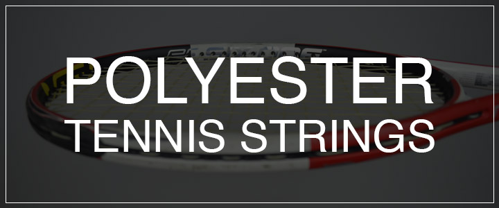 Polyester Tennis Strings - Tennis Racquet Strung With Polys in Background