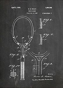 Tennis Art Gift - Racquet Patent