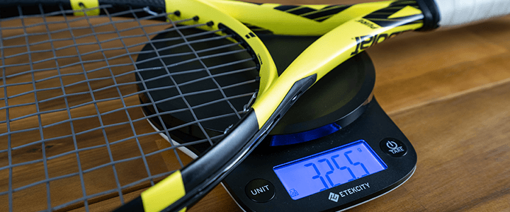 Tennis Racquet Static Weight on a Scale