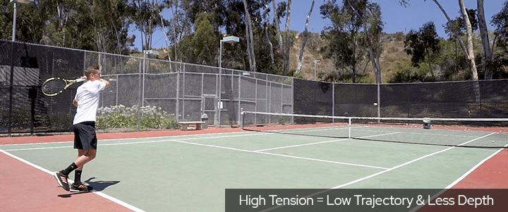 Tennis String Tension: High Tension Equals Low Trajectory & Less Depth