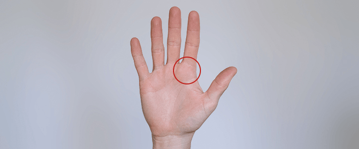 Hand Highlighting Bottom Index Fingers Knuckle