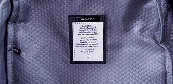 Vessel Baseline Tennis Backpack: Internal Message & Bag Number