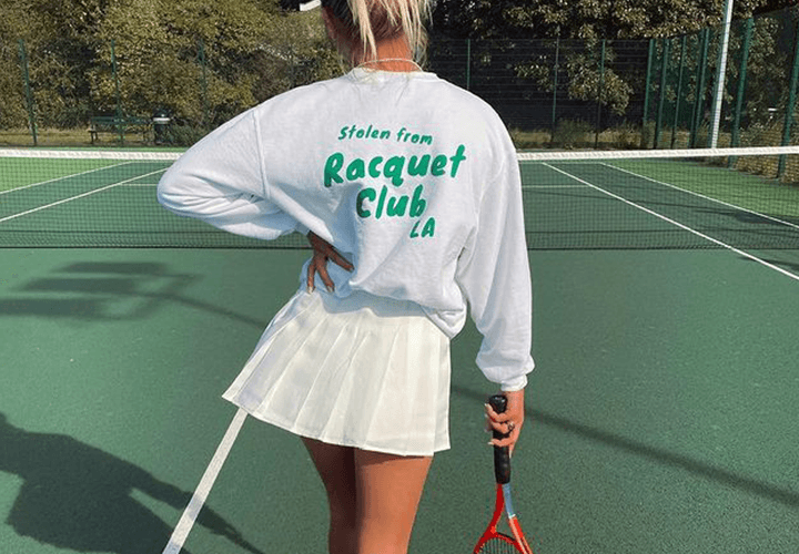 Rebecca Dransfield - Tennis Skirt Outfit with Oversized Sweatshirt