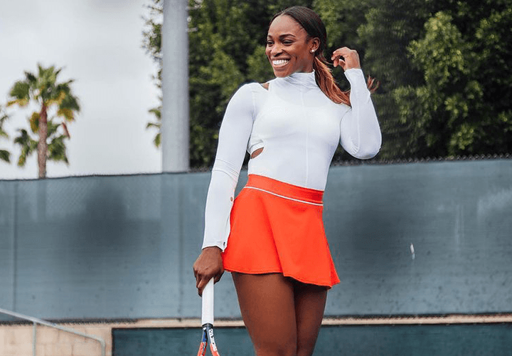 Sloane Stephens - Tennis Skirt Outfit with Long Sleeve